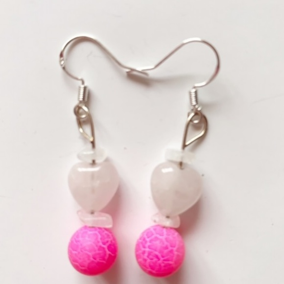 Pinkalicious Jewelry - Rose Quartz, Pink Agate  Moonstone Earrings EP955